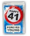 Happy birthday kaart met button 41 jaar