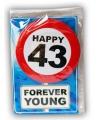 Happy birthday kaart met button 43 jaar