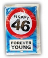 Happy birthday kaart met button 46 jaar