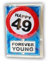 Happy birthday kaart met button 49 jaar