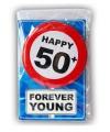 Happy birthday kaart met button 50 jaar