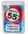 Happy birthday kaart met button 55 jaar