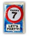Happy birthday kaart met button 7 jaar