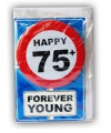Happy birthday kaart met button 75 jaar
