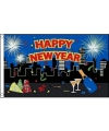 Happy new year decoratie vlag