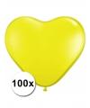 Hartjes ballonnen geel 15 cm 100 stuks