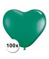 Hartjes ballonnen groen 15 cm 100 stuks