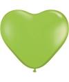 Hartjes ballonnen lime groen 100 stuks