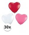 Hartjes ballonnen rood wit roze 30 st