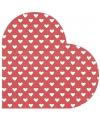 Hartjes servetten rood met wit 12 stuks