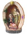 Heilige familie beeldje met licht 15 cm