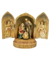 Heilige familie drieluik beeld met geluid 16 cm