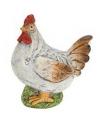 Keramische kip wit met bruin 25 cm
