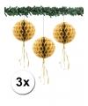 Kerst 3 papieren kerst decoratie ballen goud 30 cm