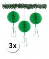 Kerst 3 papieren kerst decoratie ballen groen 30 cm