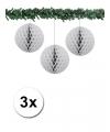 Kerst 3x decoratie bal grijs 10 cm