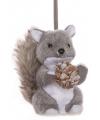 Kerst hangdecoratie grijze eekhoorn 12 cm