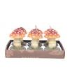 Kerst paddenstoel waxinelichtjes 6 stuks