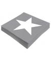 Kerst ster servetten grijs 20 stuks