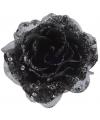 Kerst zwarte glitter roos met clip