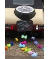 Krijtbord met pompoms en strikjes