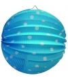 Lampion blauw met witte stippen 23 cm