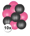Lampionnen pakket fuchsia en zwart 10x