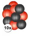 Lampionnen pakket rood en zwart 10x