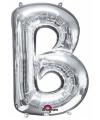 Letter b ballon zilver 86 cm