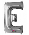 Letter e ballon zilver 86 cm