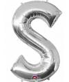 Letter s ballon zilver 86 cm