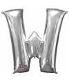 Letter w ballon zilver 86 cm