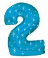 Mega folie ballon cijfer 2 blauw