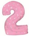 Mega folie ballon cijfer 2 roze