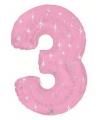 Mega folie ballon cijfer 3 roze