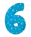 Mega folie ballon cijfer 6 blauw