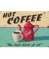 Metalen muurplaat hot coffee 30 x 40 cm