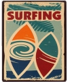Metalen muurplaat surfing 20 x 25 cm