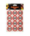 Mini stickers 60 jaar verkeersborden print