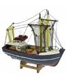 Miniatuur vissersboot groene masten 24 cm