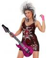 Opblaasbare gitaar roze zebra 105 cm
