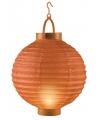 Oranje lampion met licht 20 cm
