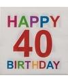 Papieren 40 jaar servetten 20 stuks