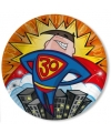Papieren bordjes 30 jaar superheld 10 stuks