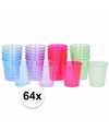 Plastic gekleurde shotglazen 64 stuks