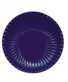 Platte kartonnen bordjes donkerblauw 23 cm