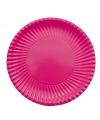 Platte kartonnen bordjes fuchsia roze 23 cm