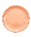Platte kartonnen bordjes perzik kleur 23 cm