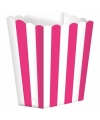 Popcorn bakjes fuchsia 5 stuks