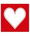 Rode servetten met wit hart 20 stuks